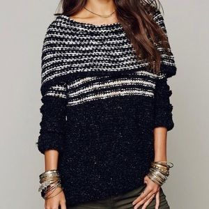 Free People Engineer Striped Cowl Sweater